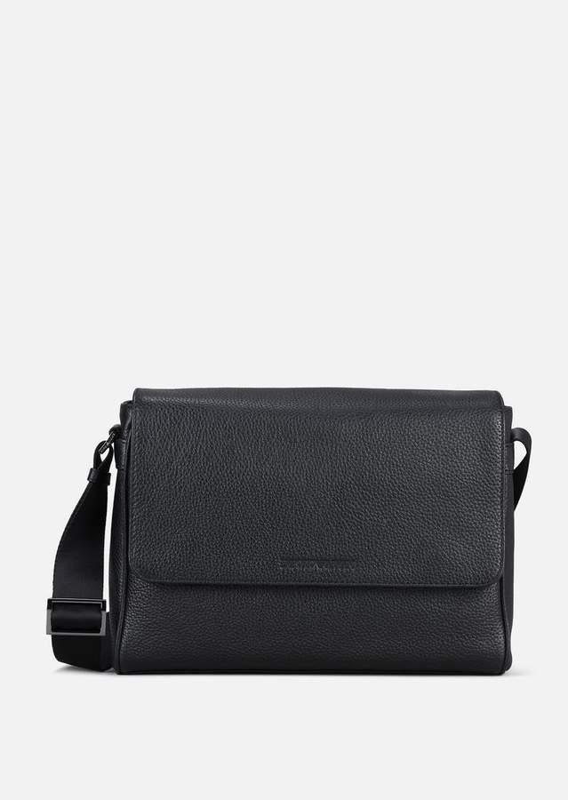 Emporio Armani Grainy Leather Messenger Bag