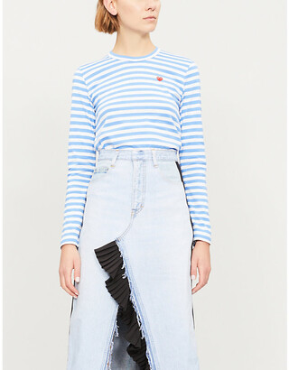 Comme des Garcons Ladies Blue Heart-Embroidered Striped Cotton-Jersey Top
