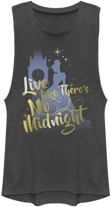 Licensed Character Juniors' Disney Cinderella Silhouette Live Like There's No Midnight Muscle Tank Top