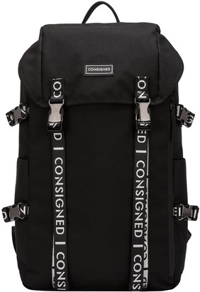 Consigned Torrett Twin Pocketed Flapover Backpack Black-White