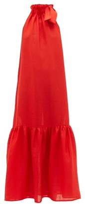 ASCENO Ibiza Linen Midi Dress - Red