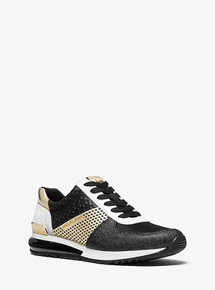 MICHAEL Michael Kors MK Allie Extreme Metallic Mixed-Media Trainer - Black/pale Gold - Michael Kors
