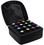16-Bottle Essential Oil Carrying Case with Foam Insert | Holds 5ML, 10ML, 15ML and Roll-Ons Bottles | Zippers, Inside Pocket and Portable Handle Bag for Travel and Home Essential Oil Bottles (Black)