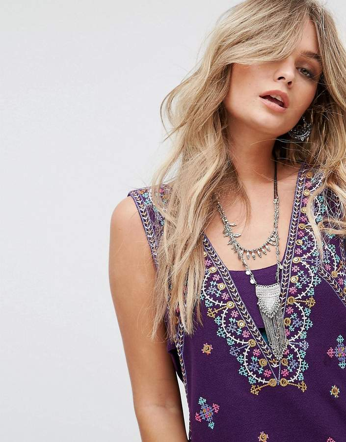 Free People Never Been Embroidered Mini Dress