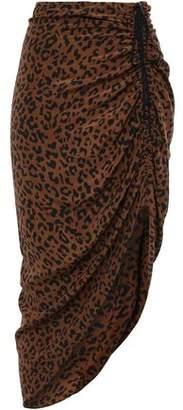 Diane von Furstenberg Ruched Leopard-print Silk Skirt