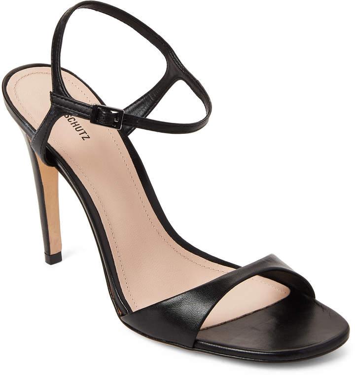 Schutz Black Jade Leather High Heel Sandals
