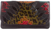 Carlos Falchi Mixed Print Leather Clutch