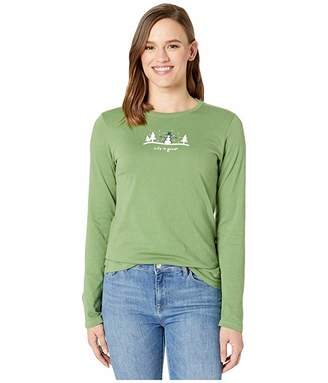 Life is Good Snowman Outdoor Long Sleeve Vintage Crushertm Tee (Fresh Pine) Women's T Shirt
