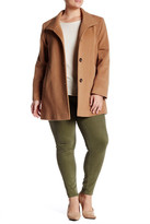 Fleurette Stand Collar Wool Blend Car Coat (Plus Size)