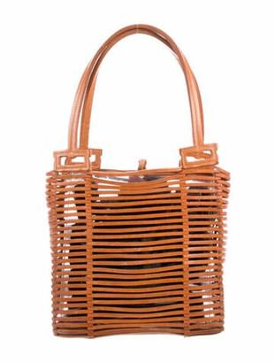 Salvatore Ferragamo Open Weave Leather Shoulder Handle Bag Brown