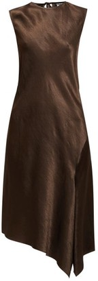 Ann Demeulemeester Asymmetric Bias-cut Hammered Satin Midi Dress - Brown