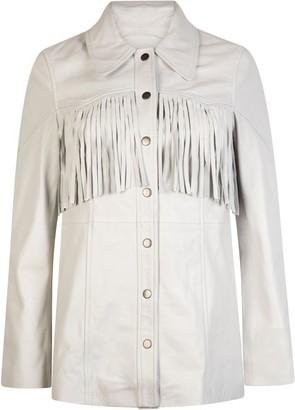 Muu Baa Muubaa Off White Lonny Fringed Leather Jacket