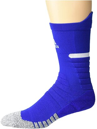 adidas adizero Football Cushioned Crew Sock (White/Black) Crew Cut Socks Shoes