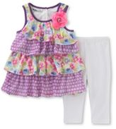 Kids Headquarters Baby Girls Two-Piece Tiered Tunic and Capri Pants Set
