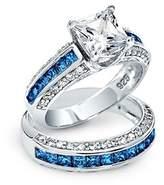 Bling Jewelry Simulated Sapphire Cz Princess Cut Wedding Ring Set Silver.