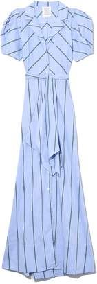 Rosie Assoulin Puff Sleeve Dress in Green Stripes
