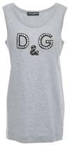 Dolce & Gabbana Crystal-embellished Melange Cotton-jersey Tank
