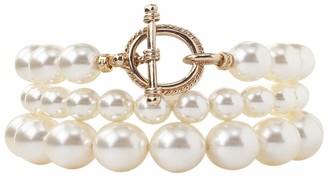Chan Luu Set Of 3 Crystal Faux Cream Pearl Stretch Bracelets