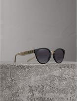 Burberry Check Detail Cat-eye Frame Sunglasses