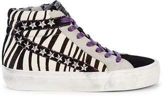Vintage Havana Zebra Calf Hair Suede High-Top Sneakers