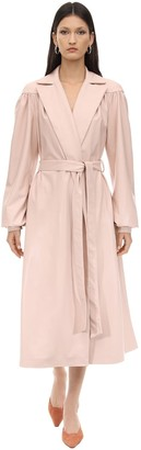 Ruffled Faux Leather Trench Coat W/ Belt