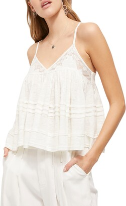 Free People Sweet Pea Lace Trim Linen Blend Camisole