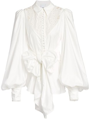 Acler Viscount Lace Eyelet Puff-Sleeve Tie-Front Shirt