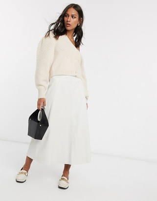 Asos DESIGN leather A-line midi skirt with seam detail in stone