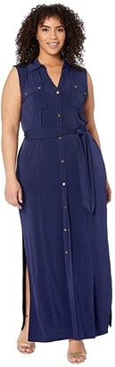 MICHAEL Michael Kors Size Sleeveless Maxi Shirtdress (True Navy) Women's Dress