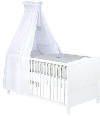 Zöllner Bedding Set for Cot, Cot Bumper and Canopy with Embroidery Grey