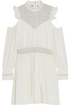 Cinq a Sept Shahla Cold-Shoulder Shirred Silk Dress