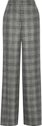Adam Lippes Checked Wool, Silk And Linen-blend Wide-leg Pants