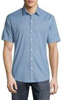 Zachary Prell Plaid Short-Sleeve Woven Shirt, Blue