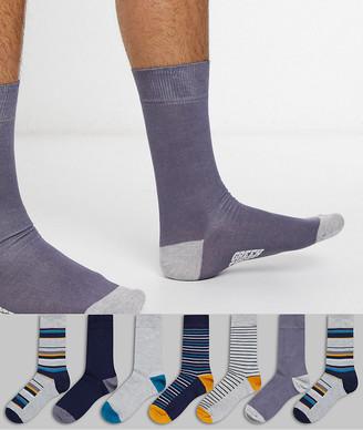 Green Treat 7 pair ankle socks in stripe mix