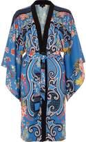 River Island Womens Blue floral baroque print tie waist kimono