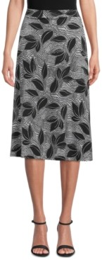 Kasper Tropical-Print Skirt