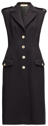Marni Sleeveless Single-breasted Wool-twill Coat - Womens - Navy