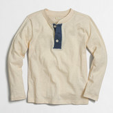 J.Crew Factory Boys' long-sleeve henley with chambray placket