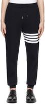 Thom Browne Navy Waffle Knit 4-Bar Sweatpants
