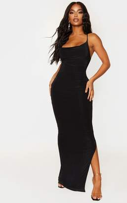 PrettyLittleThing Shape Black Slinky Cowl Neck Maxi Dress