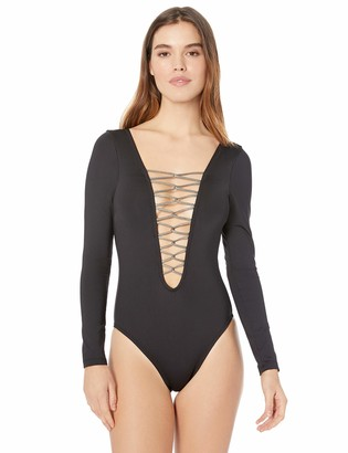 Kenneth Cole New York Women's Plunge Front Lace Up Long Sleeve One Piece Swimsuit
