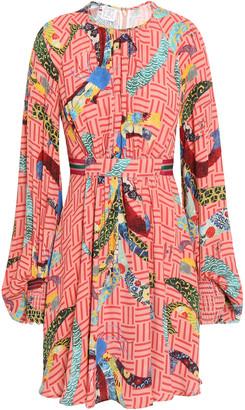 Stella Jean Belted Gathered Crepe De Chine Mini Dress