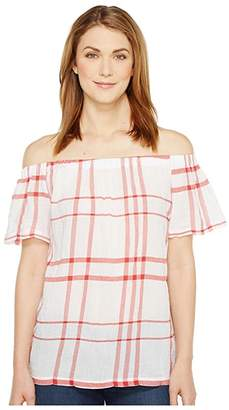 Vince Camuto Off the Shoulder Timeless Plaid Blouse (Aurora Red) Women's Blouse