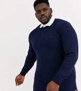 Polo Ralph Lauren Ralph Lauren Big & Tall player logo long sleeve rugby polo in navy
