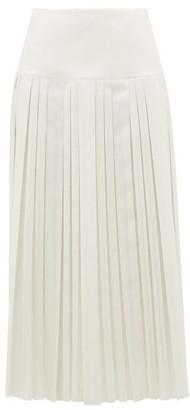 The Row Magdita Knife-pleated Canvas Midi Skirt - Ivory