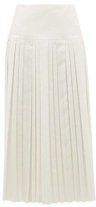 The Row Magdita Knife-pleated Canvas Midi Skirt - Womens - Ivory