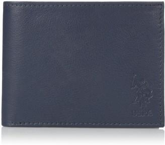 U.S. Polo Assn. Men's Genuine Leather Wallet Slim Bifold Clear Id Window