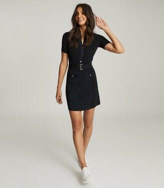 Reiss Kate - Belted Knitted Dress in Navy