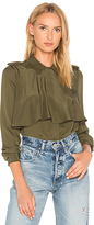 Frame Mixed Military Shirt in Green. - size S (also in XS)