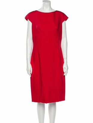 Dolce & Gabbana Bateau Neckline Midi Length Dress Red